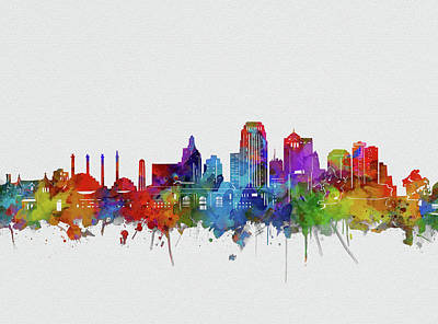 Abstract Skyline Royalty-Free and Rights-Managed Images - Kansas City Skyline Watercolor 2 by Bekim M