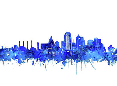 Digital Art - Kansas City Skyline Watercolor Blue by Bekim Art