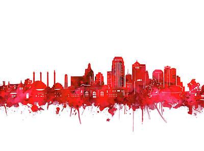 Digital Art - Kansas City Skyline Watercolor Red by Bekim Art
