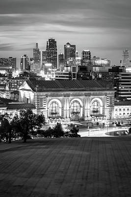 Photograph - Kansas City Skyline With Union Station In Black And White by Gregory Ballos