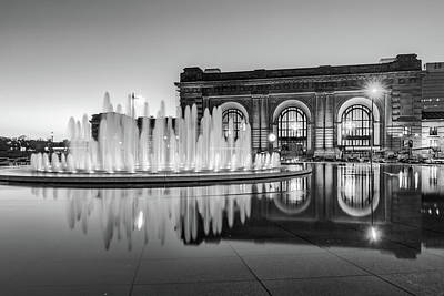 Photograph - Kansas City Union Station Monochrome Fountain Reflections by Gregory Ballos
