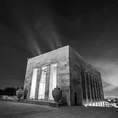 Photograph - Kansas City War Memorial At Night - Bw Square Format by Gregory Ballos