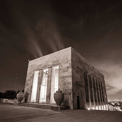 Typographic World - Kansas City War Memorial at Night - Sepia Square Format by Gregory Ballos