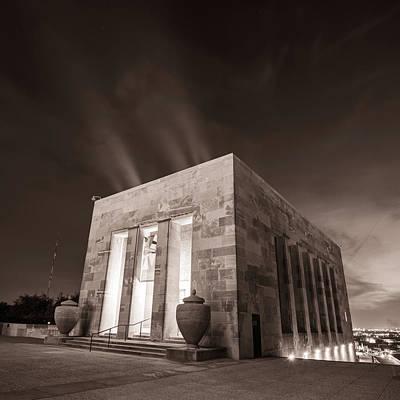 Photograph - Kansas City War Memorial At Night - Sepia Square Format by Gregory Ballos
