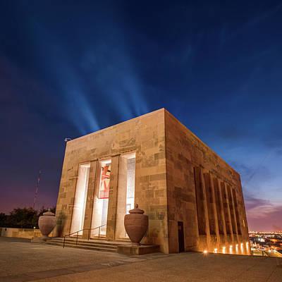 Photograph - Kansas City War Memorial At Night - Square Format by Gregory Ballos