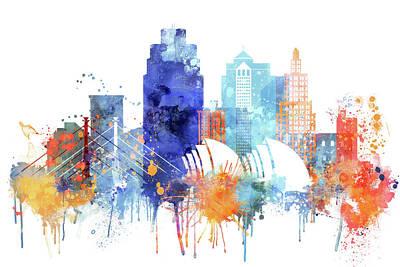 Skyline Painting - Kansas City Watercolor by Dim Dom