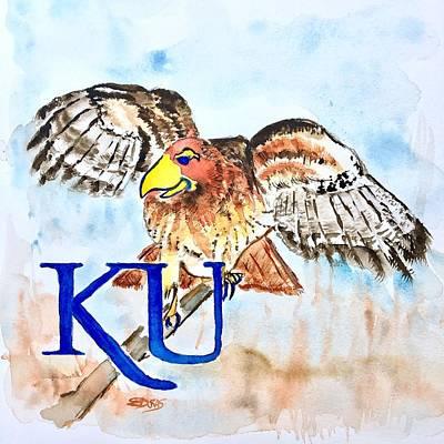 Painting - Kansas Jayhawks by Elaine Duras