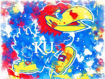 Recently Sold - Sports Paintings - Kansas Jayhawks Splatter by Dan Sproul