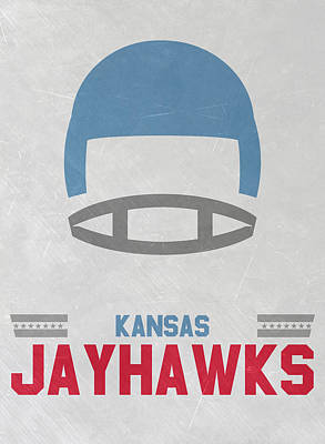 Football Mixed Media - Kansas Jayhawks Vintage Football Art by Joe Hamilton