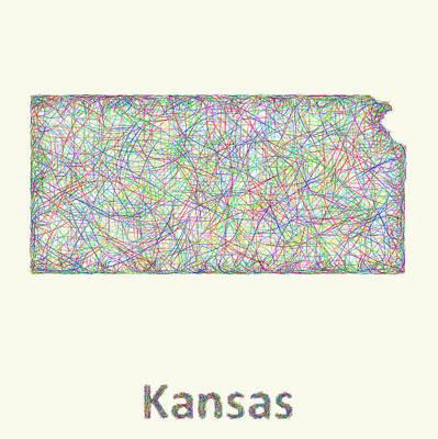 Kansas Digital Art - Kansas Line Art Map by David Zydd