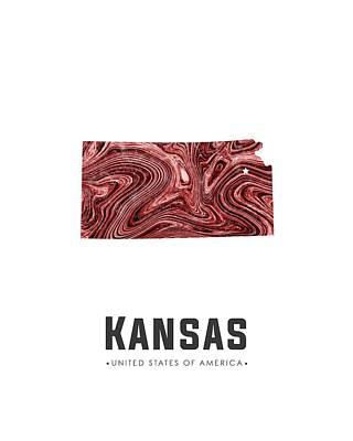 Mixed Media - Kansas Map Art Abstract In Deep Red by Studio Grafiikka