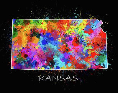 Splatter Digital Art - Kansas Map Color Splatter 2 by Bekim Art