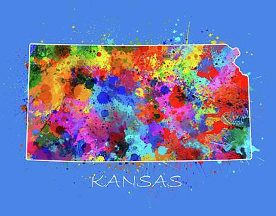 Watercolor Map Digital Art - Kansas Map Color Splatter 3 by Bekim Art