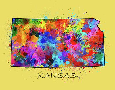 Splatter Digital Art - Kansas Map Color Splatter 4 by Bekim Art