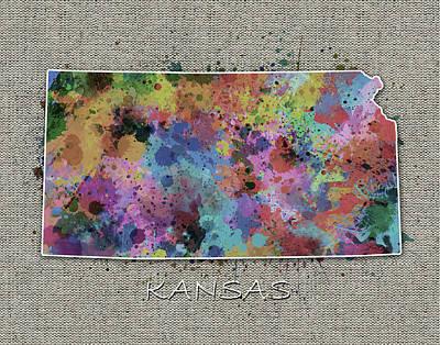 Splatter Digital Art - Kansas Map Color Splatter 5 by Bekim Art