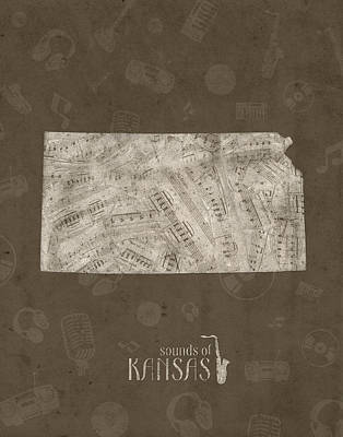 Rock And Roll Royalty-Free and Rights-Managed Images - Kansas Map Music Notes 3 by Bekim Art