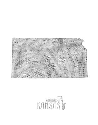 Music Royalty-Free and Rights-Managed Images - Kansas Map Music Notes by Bekim Art