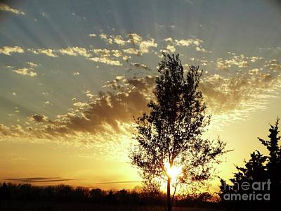 Photograph - Kansas Midwest Sunset Rays by Rebecca Overton