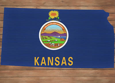 Mixed Media - Kansas Rustic Map On Wood by Dan Sproul