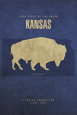 Movie Mixed Media - Kansas State Facts Minimalist Movie Poster Art by Design Turnpike