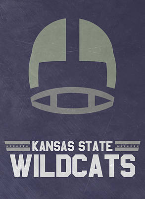 Ncaa Mixed Media - Kansas State Wildcats Vintage Football Art by Joe Hamilton