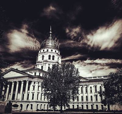 Photograph - Kansas Statehouse In Brown Tones by Michael Oceanofwisdom Bidwell