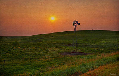 Photograph - Kansas Sunrise Windmill by Anna Louise