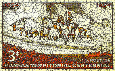 Conestoga Painting - Kansas Territorial Centennial by Lanjee Chee