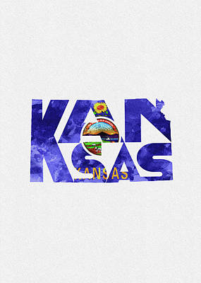 Digital Art - Kansas Typographic Map Flag by Inspirowl Design