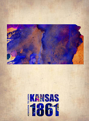 Global Digital Art - Kansas Watercolor Map by Naxart Studio