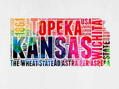 Kansas Watercolor Word Map Art Print