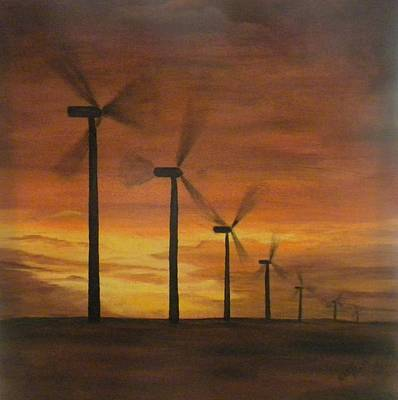 Painting - Kansas Wind Farm by Marti Idlet