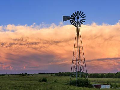 Photograph - Kansas Windmill And Storm by Scott Bean