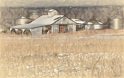 Photograph - Kansas Winter Farm Sketch by Anna Louise