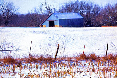 Photograph - Kansas Winter Field Barn 1 by Anna Louise