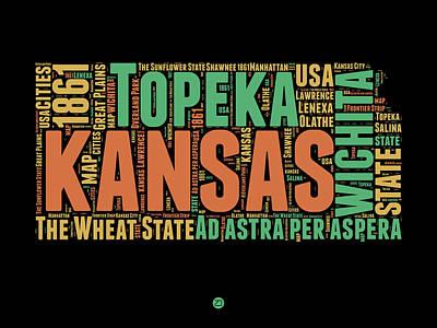 Modern Poster Digital Art - Kansas Word Cloud Map 1 by Naxart Studio