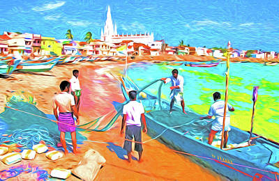 Mixed Media - Kanyakumari Fishermen by Dennis Cox Photo Explorer