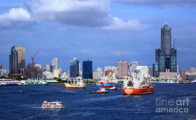Photograph - Kaohsiung Port With Many Ships by Yali Shi