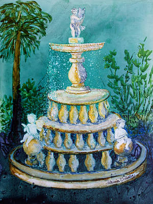 Painting - Kapok Gardens Fountain by Patricia Beebe