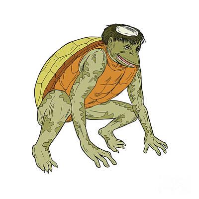 Imp Digital Art - Kappa Monster Crouching Drawing by Aloysius Patrimonio