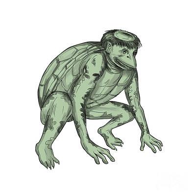 Imp Digital Art - Kappa Monster Crouching Tattoo by Aloysius Patrimonio