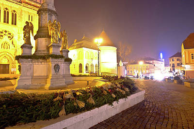 Photograph - Kaptol Square In Zagreb Advent Evening View by Brch Photography