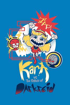 Kara Vs The Forces Of Darkseid Art Print by Little Black Heart