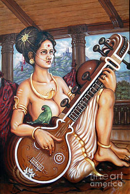Indian Musical Instrument Painting - Karakkal Matha by Anup Roy