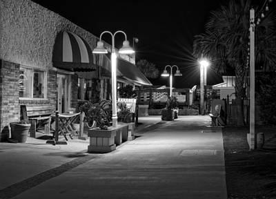 Carolina Beach Photograph - Karaoke On Carolina Beach Boardwalk In Black And White by Greg Mimbs