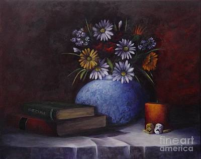 Table Cloth Painting - Kara's World by Laurie Golden