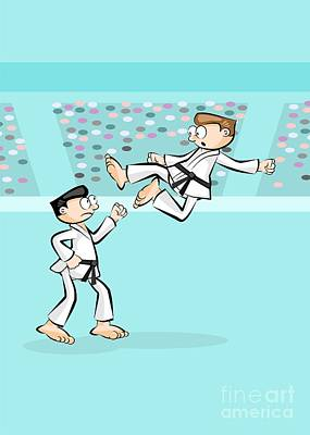Karate Digital Art - Karate Fighter Jumps Off With A Powerful Flying Kick by Daniel Ghioldi