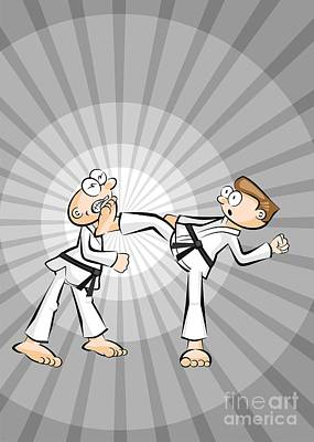 Karate Digital Art - Karate Fighter Kicks His Opponent's Jaw With His Foot by Daniel Ghioldi