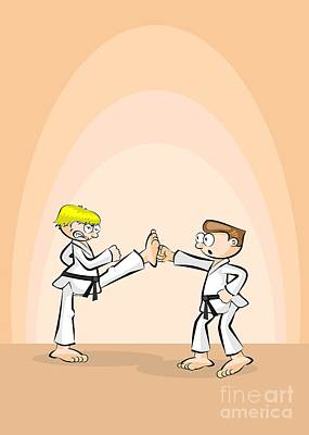 Karate Fighter Stops His Opponent's Fist With One Foot Art Print