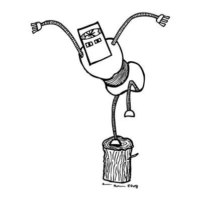 Kung Fu Drawing - Karate Robot by Karl Addison